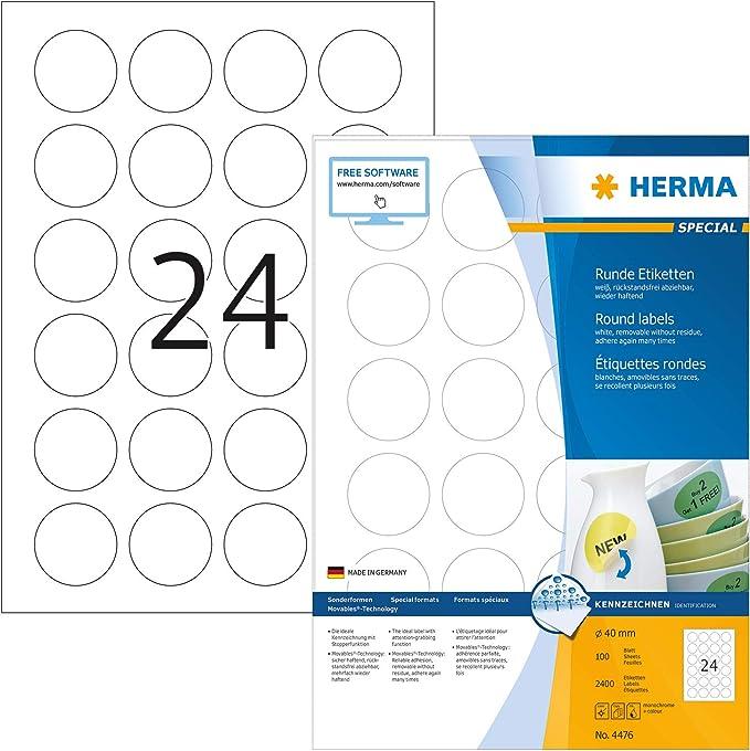 Herma 10010 /Étiquettes movables//amovibles 88,9 x 46,6 A4 300 pi/èces Blanc