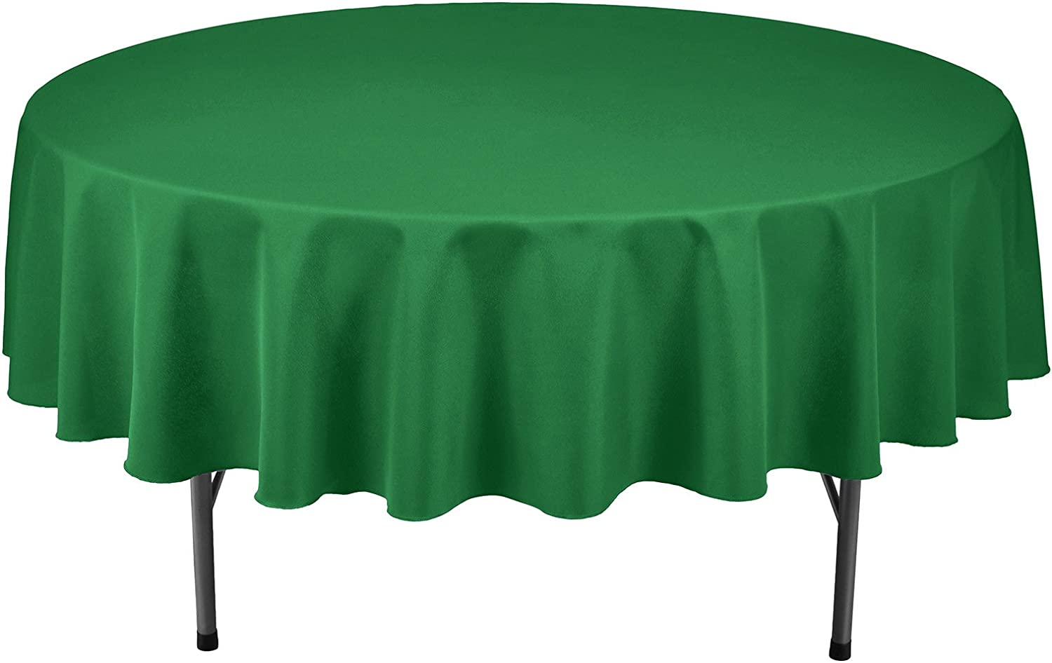 Remedios Round Tablecloth Solid Color Polyester Table Cloth for Bridal Shower Wedding Table – Wrinkle Free Dinner Tablecloth for Restaurant Party Banquet (Green, 90 inch)