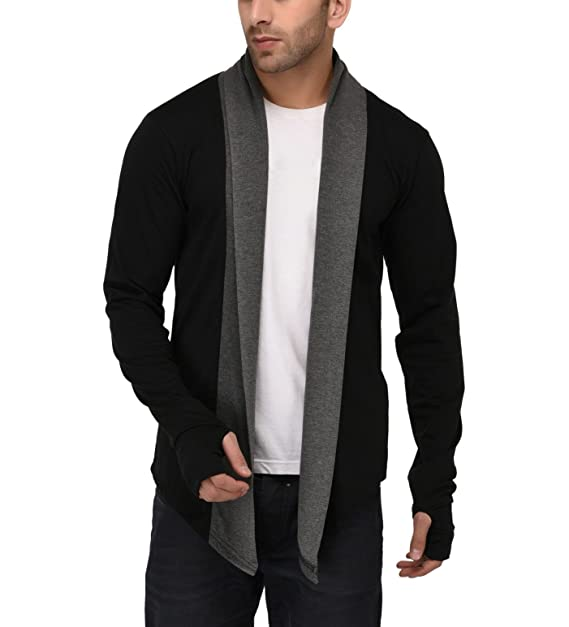 5c7ef5ba5d8b3 DENIMHOLIC Thumbhole Open Long Cardigan Full Sleeve Shrug for Men (Black,  Small). Roll over image to zoom in