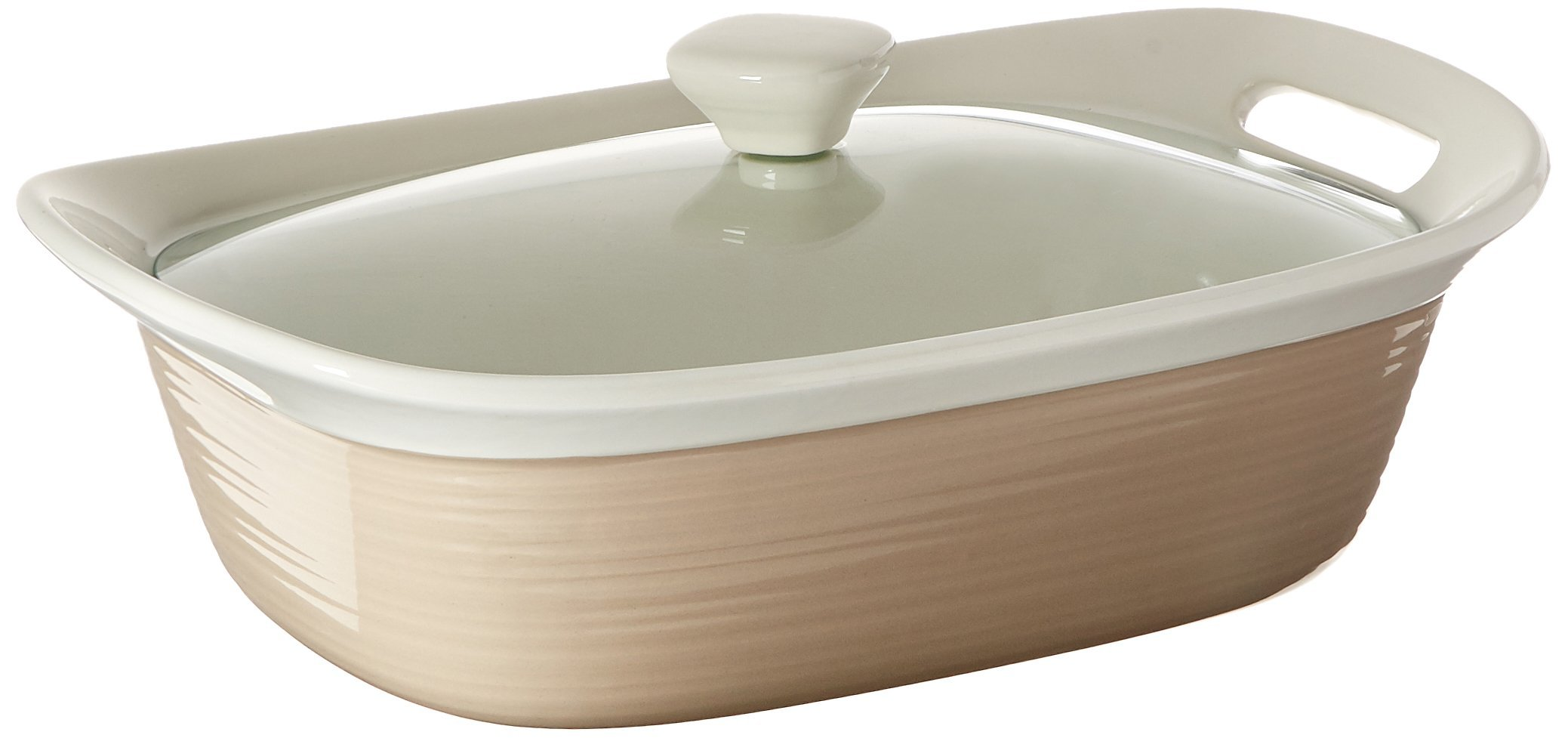 CorningWare Etch 2.5 quart Oblong Dish with Glass Cover in Sand