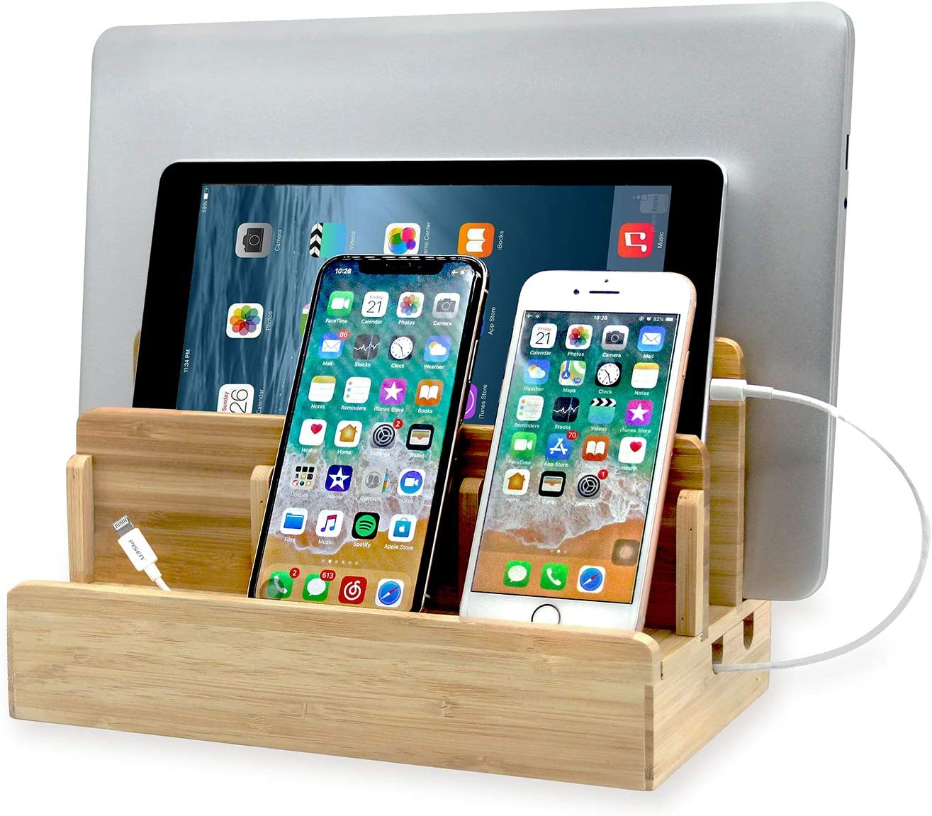 Originalidad Eco Bamboo Multi-Device Charging Station Dock, Desk Docking Station Organizer for Laptops, Tablets, and Phones