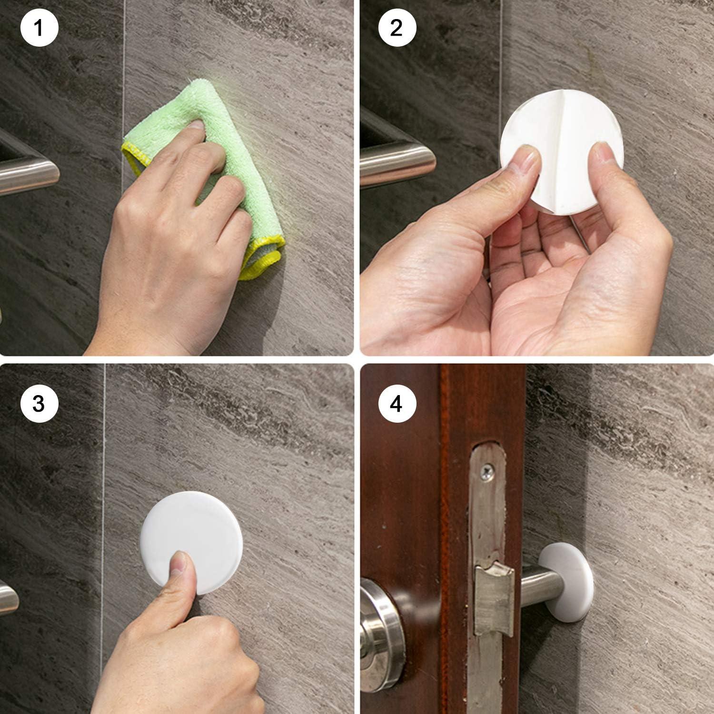 Refrigerator Door 4PCS Door Stopper Wall Self Adhesive Rubber Doorknob Protector for Protecting Wall 3.15 Inch Diameter, White Doorknobs