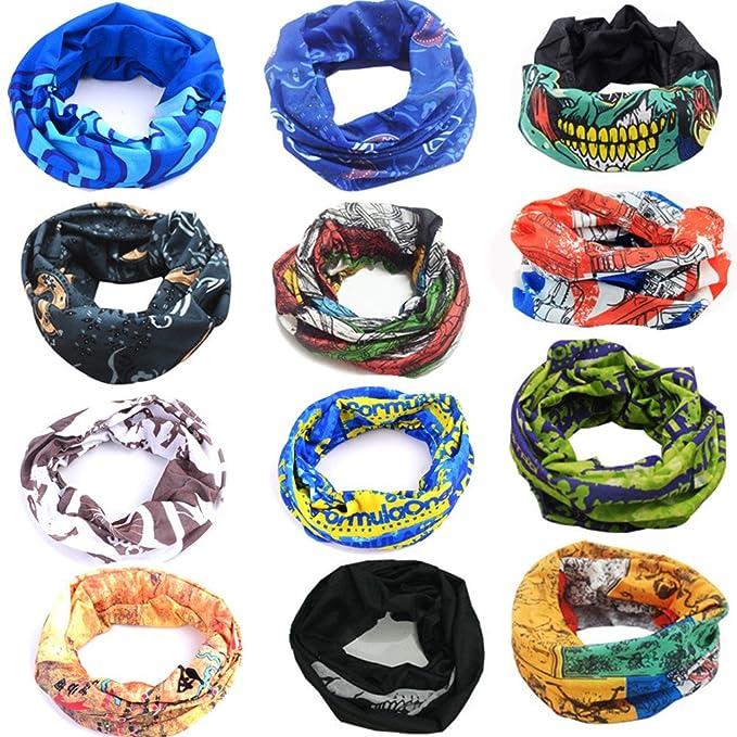 12 Pack Multiuso Fascia Bandana Scaldacollo Foulard - Copricapo  Multifunzione Fascia Bandana Sciarpa di riciclaggio della 015468e24079