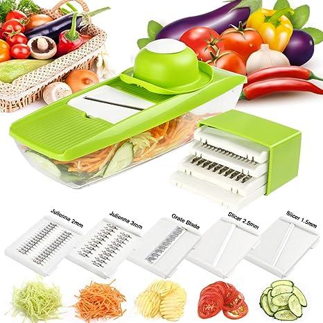 Mandolina de Cocina,Rebanadora de mandolinas, cortadora de verduras multifuncional con 5 cuchillas intercambiables de acero inoxidable, para verduras, ...