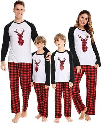 Family Christmas Pajamas Matching Sets Long Sleeve Sleepwear Nightwear PJs Suitable for Men Women Kids Toddler
