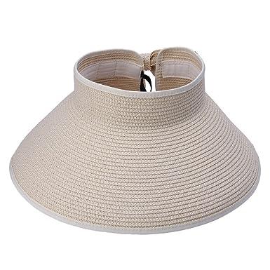 384f710c Bluelans® Womens Roll Up Foldable Wide Brim Summer Sun Hat Beach Straw  Visor Cap (Beige): Amazon.co.uk: Clothing