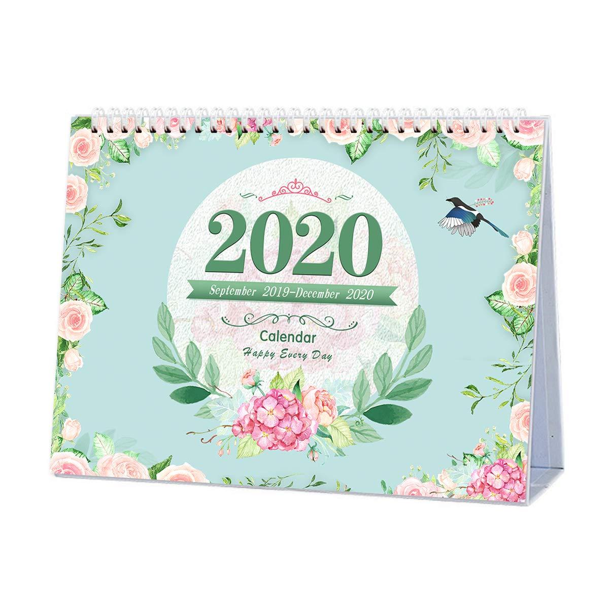 September 2019 to December 2020 Desk Monthly Calendar with Stand, Desktop Calendar Monthly Planner Daily Calendar Planner for School, Classroom, Home Use