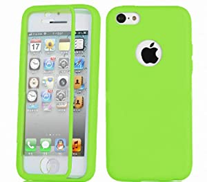 Qingsun Gel Slim TPU Case with Front and Back Protection Built in Screen Protector for Apple iPhone 5C()