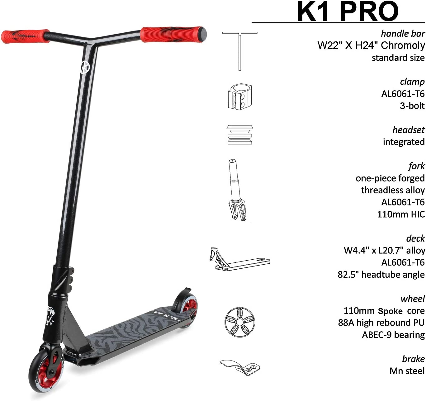Teens//Adults Beginner to Intermediate Tricks Scooters for Kids 8 Years and Up Durable Vokul Bzit K1 Pro Scooter Complete Stunt Scooter Freestyle Scooter for Boys and Girls