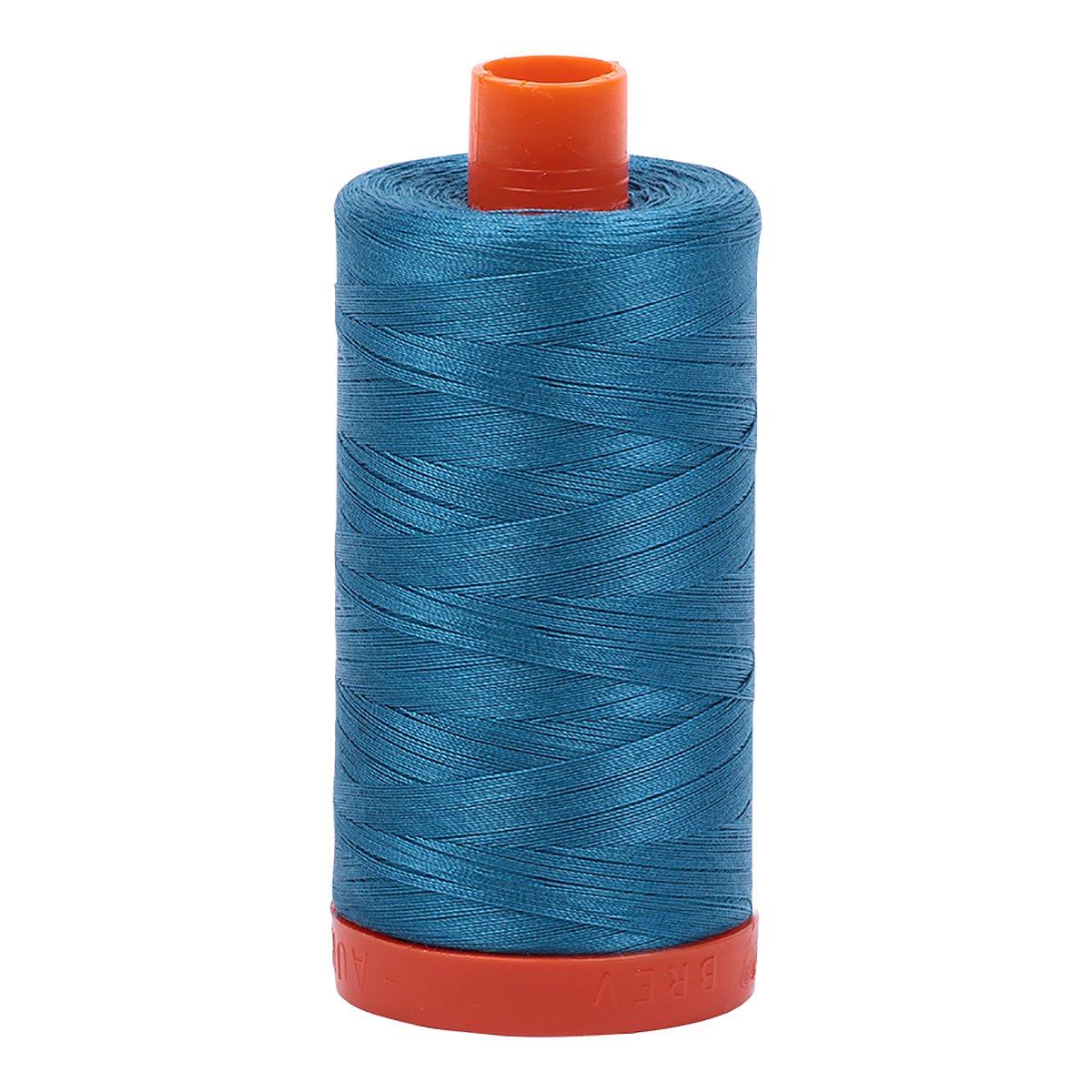Aurifil A1050-1125 Solid 50wt 1422yds Medium Teal Mako Cotton Thread Aurifil USA