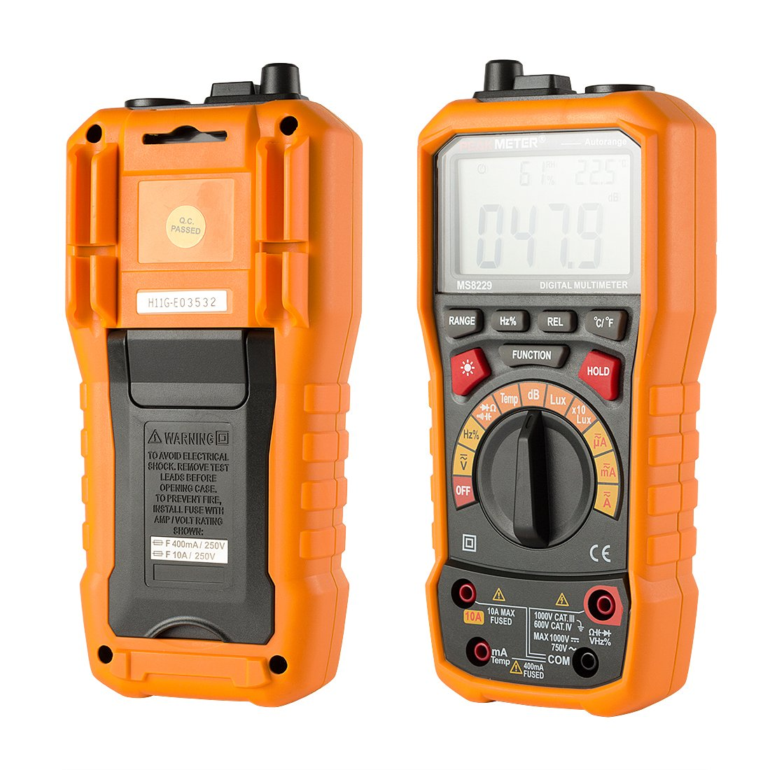 uxcell PEAKMETER Authorized Orange MS8229 Multifunction LCD Backlight Digital Multimeter Testing DC AC Voltage Current Ohm Frequency Lux Temp Humidity Meter ...