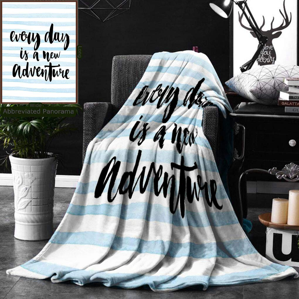 Unique Custom Double Sides Print Flannel Blankets Inspirational Quotes Every Day Is A New Adventure Calligraphy Text Watercolor Stripes Super Soft Blanketry for Bed Couch, Twin Size 60 x 80 Inches by Ralahome (Image #1)