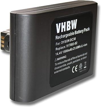 vhbw Batería Li-Ion 1500mAh (14.4V) para robot aspiradora, Home Cleaner, robot doméstico reemplaza Dyson 17083-4810, 17183-01-03.: Amazon.es: Electrónica