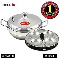 iBELL Stainless Steel Multi Purpose Kadai with 2 idli Plate(8 Idli) and Steel Lid
