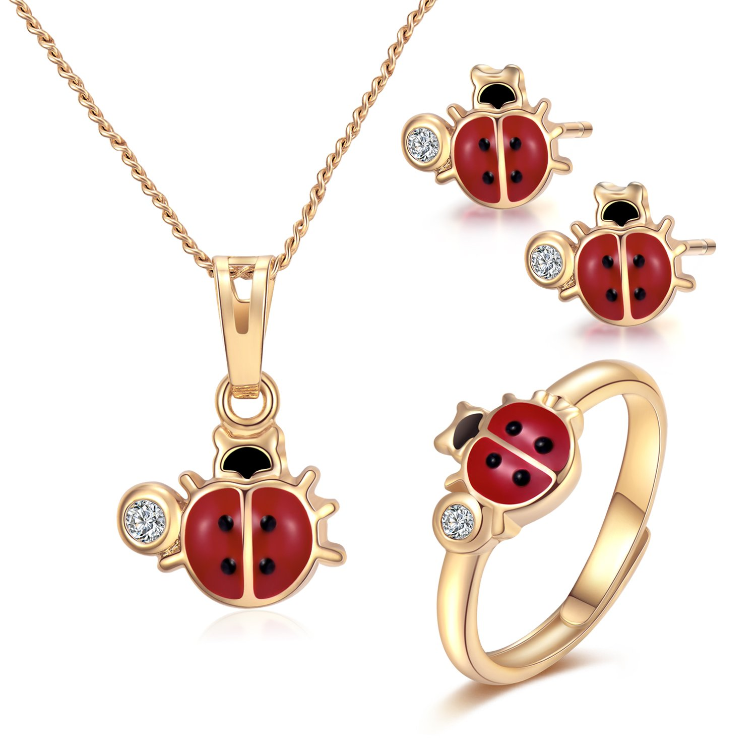 "Mouttop Ladybug Pendant Necklace, Charms 14k Gold-Filled Red and Black Ladybug Pendant Necklace Rings Set Jewelry for Kids,15"" (Ladybug)"