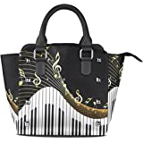 ALAZA Women's Gold Music Note Piano Black Rivet PU Leather Tote Bag Shoulder Bag Purse