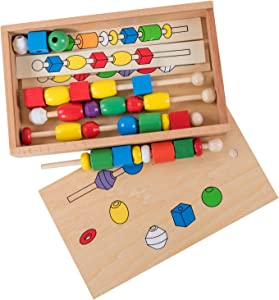 ELIITI Wooden Lacing Beads for Toddlers Sequencing Activities Set Montessori String Beads Fine Motor Stacking & Sorting Blocks Toy for Kids 3 to 5 Years Old, 33Pcs
