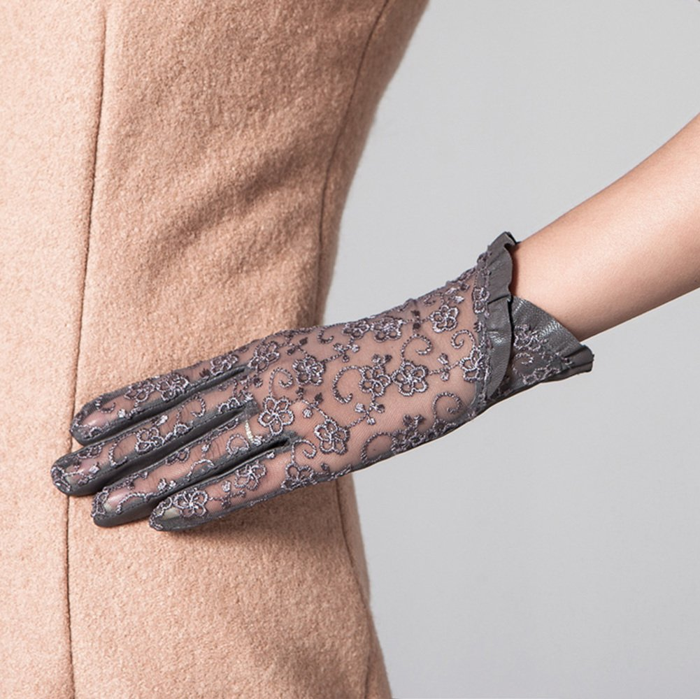 Ladies Short Sheer Lace Dress//Wedding Gloves With Ruffle Cuff Ivory, White, Navy, Red, Black, Green