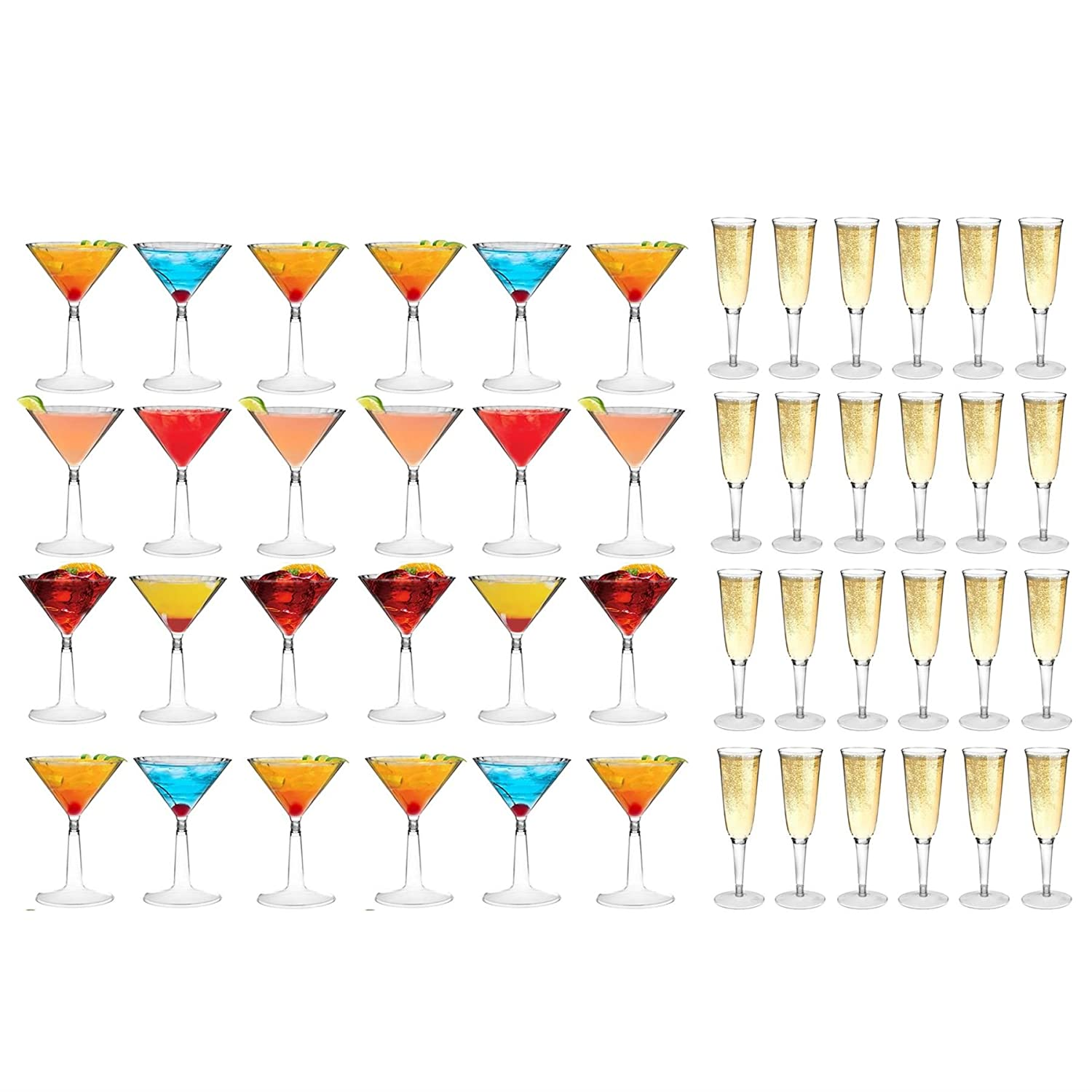 Plastic Cocktail Martini Glasses and Champagne Outdoor Flutes - 170ml / 200ml - Set of 48 Rink Drink