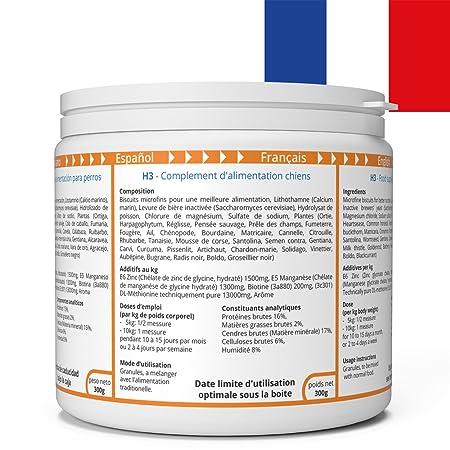 ww7 H3 Fórmula Natural para Piel, Pelaje y caspa de Perros -900g: Amazon.es: Productos para mascotas