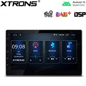 XTRONS Android 10.0 Car Stereo Radio Player 10.1 Inch Adjustable Touch Screen GPS Navigation Built-in DSP Bluetooth Head Unit Supports Android Auto Full RCA Output Backup Camera WiFi OBD2 DVR TPMS