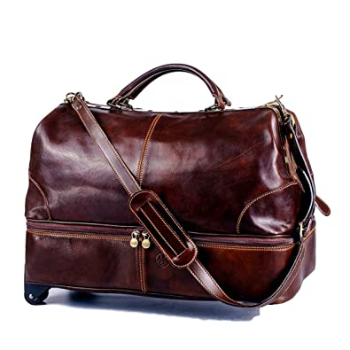 Michelangelo Genuine Leather Calf-Skin Italy - Pilot Bag Trolley Leather  55x28 H42 cm ( 5120cfd68acaf