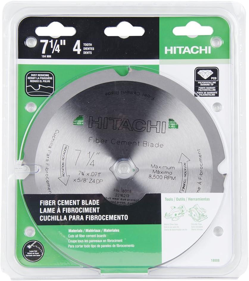 Hitachi 18008 4-Teeth Polycrystalline Diamond 7-1/4-Inch Dry Cutting Fiber Cement Saw Blade