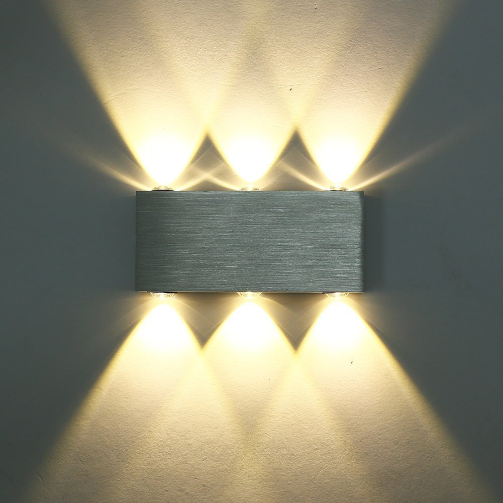 Glighone 6W LED Wall Light Up and Down Wall Lights wall uplighter for Hallway Living Room Bedroom Corridor Decoration Lighting Warm White [Energy Class A++] Lightess GL-000003