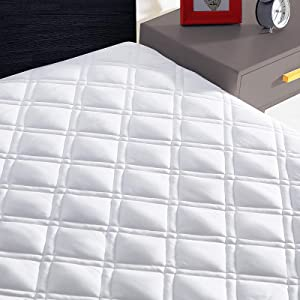 WOOBOBEE Twin Mattress Pad Cooling Mattress Cover Pillow Top with Down Alternative Fill,8-21 inch Deep Pocket