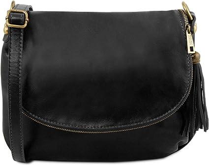 Amazon.com: Tuscany Leather TLBag Soft leather shoulder bag with tassel detail Black