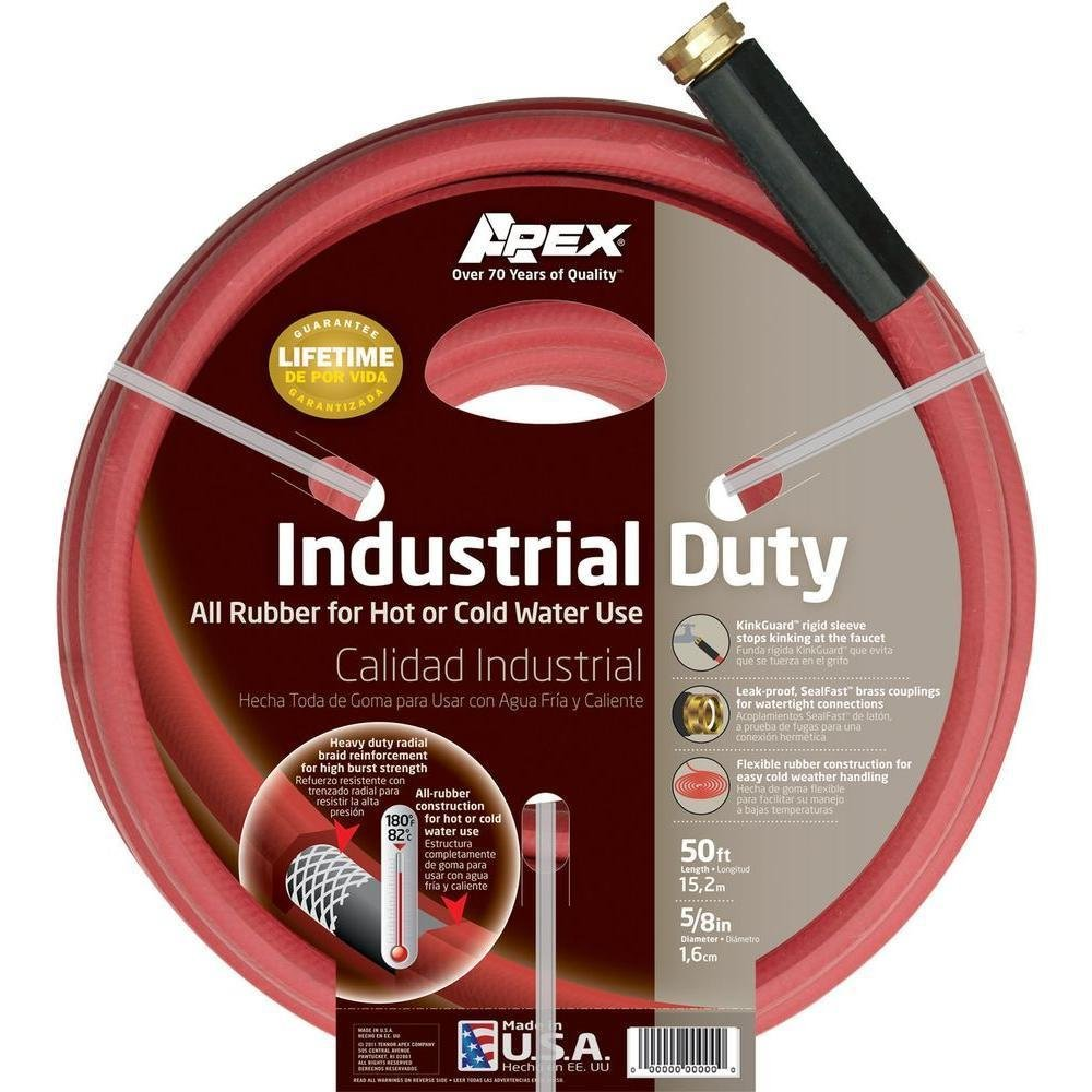 Amazon.com : NEW Apex 5/8 in. Dia x 50 ft. Red Rubber Commercial Hot Water Hose -by# blinq_59401148508605 : Garden & Outdoor