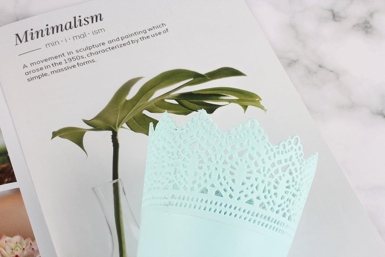 14*10*7CM d/écoration de la maison et le bureau Outflower simples creux Motif fleur de pot en plastique Blanc pour pot de fleurs Green