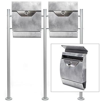 Buzón Kit de pie soporte Correo Postal Cartas V2 gris plata ...