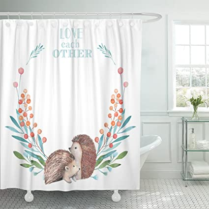 Breezat Shower Curtain Blue Circle Wreath With Watercolor Hedgehogs And Forest Plants White Green Animal Waterproof