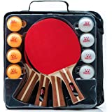 IntegraFun Pro Ping Pong Paddle – Set of 4 Table Tennis Rackets – 8balls (3 Stars) – Eco-Friendly – High-Bounce Sponge – Paddle Case –Ergonomic Grip – Family & Friends Games – Recreational Games