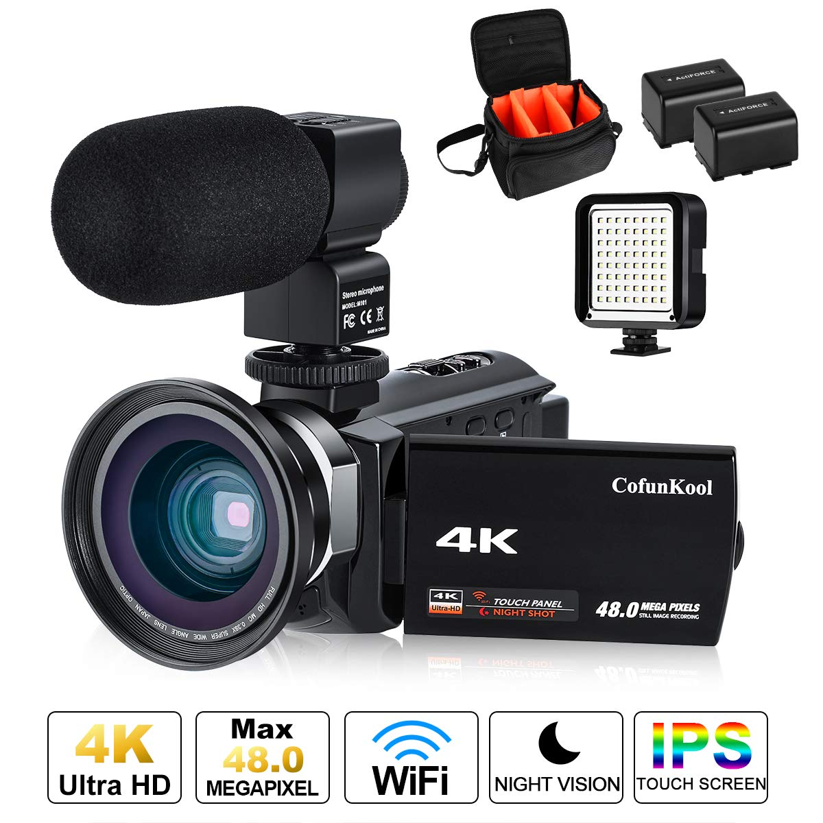 2476a7e49da4 4K Camcorder Vlogging Video Camera for YouTube CofunKool 60FPS 48MP Ultra  HD WiFi Night Vision 16X Digital Zoom with External Microphone Wide Angle  Lens LED ...