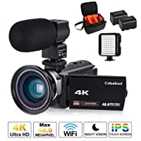 4K Camcorder, CofunKool Digital Video Camera Ultra HD 1080P Vlogging Camera WIFI IR Night Vision 60FPS 48MP Digital Camcorder with Microphone, Wide Angle Lens, LED Video Light, Shoulder Bag