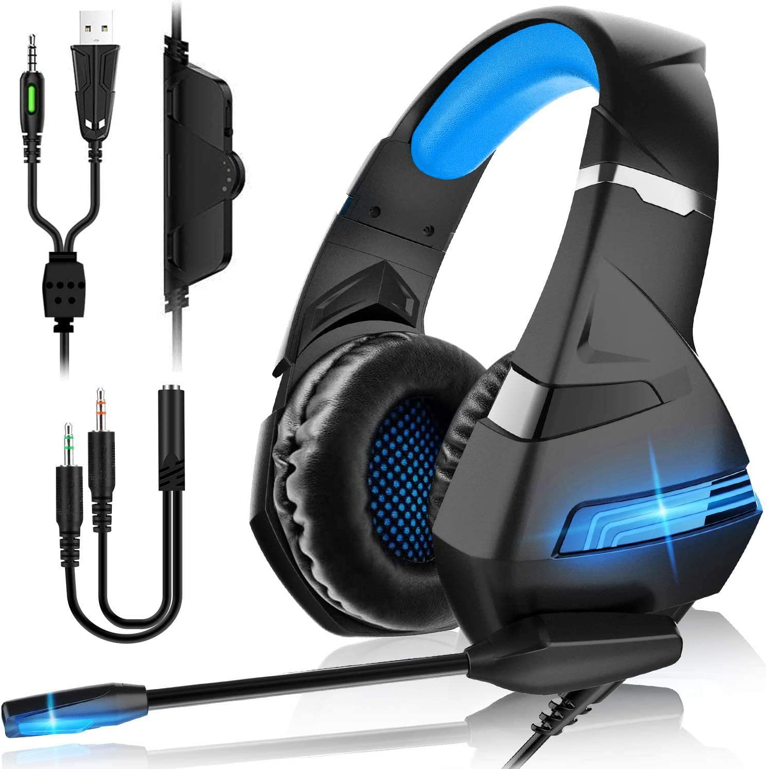Auriculares Gaming PS4,Cascos Gaming de Mac Estéreo con Micrófono Cascos Gaming 3.5mm Jack con Luz LED Bass Surround y Cancelación de Ruido Auriculares Compatible con PC/Xbox One/ Switch