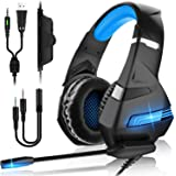 Auriculares Gaming PS4,Cascos Gaming de Mac Estéreo con Micrófono Cascos Gaming 3.5mm Jack con Luz LED Bass Surround y…