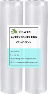 """Vacuum Sealer Bags Rolls - Vacuum Sealer Bags for Food Saver, Seal a Meal,Weston and Sous Vide Cooking Heavy Duty Embossed Commercial Grade Food Storage Bags Rolls, BPA Free (6""""x 200""""(2 Pack))"""
