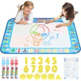 """D-FantiX Water Doodle Mat, Extra Large Water Drawing Mat Kids Magic Doodle Board Painting Writing Pad with 4 Magic Pen Educational Toy Gift for Toddlers Boys Girls 4 Colors 38.5 """" x 30 """""""