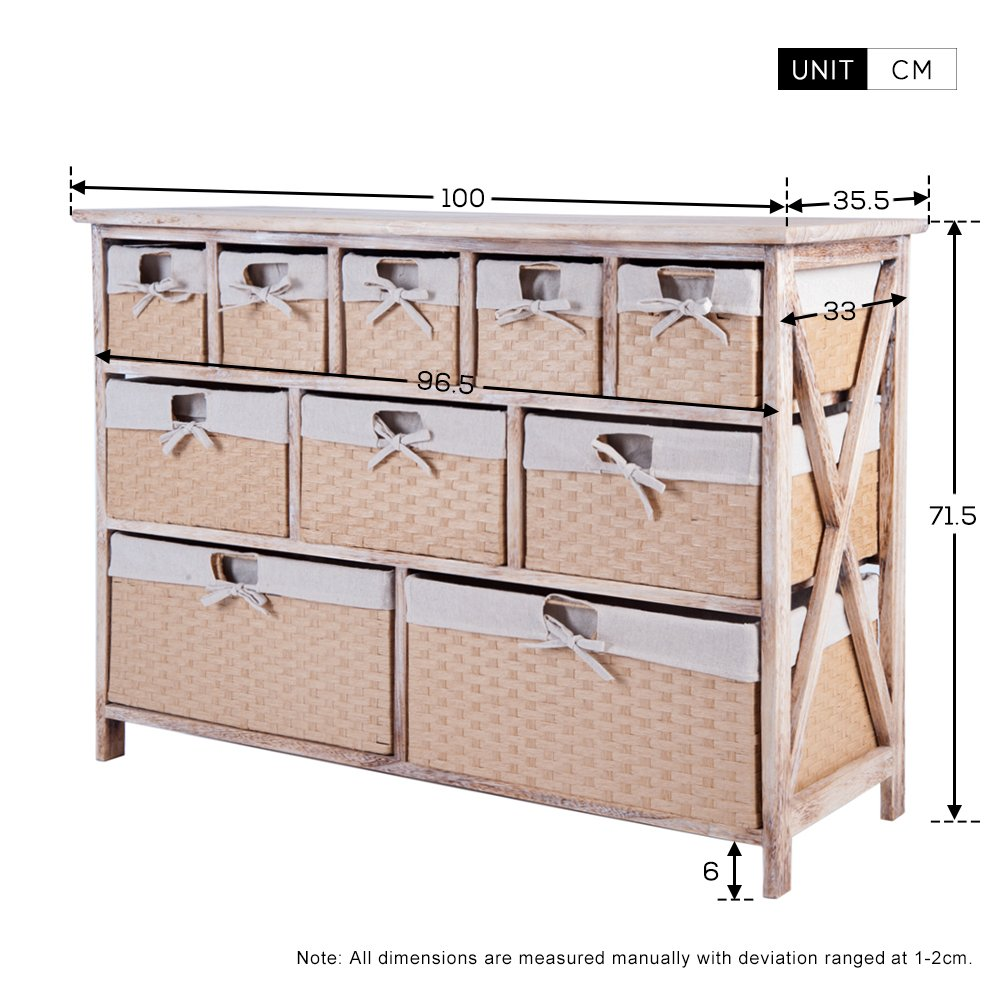 Life Carver Fully Assembled  Drawer Baskets Wide Functional Storage Cabinet Hallway Bathroom Basket Chest Of Drawers Storage Unit Amazon Co Uk Kitchen