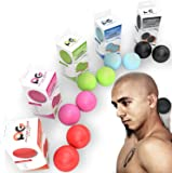 Physix Gear Sport Lacrosse Ball Set of 2 - Best Deep Tissue Massage Balls for Trigger Points, Plantar Fasciitis Neck & Back Pain - Perfect Tool for Rehab, Acupressure Foot Reflexology & Myofascial
