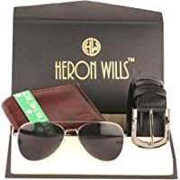 Heron Wills Men's Leather Combo Of Belt, Wallet & Sunglass( ,Multicolor,Free Size)