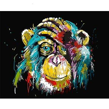 Malen Nach Zahlen Kits Diy Leinwand Olgemalde Fur Kinder Studenten Erwachsene Anfanger Bunte Monkey16x20 Zoll Mit Pinsel Und Acrylpigment