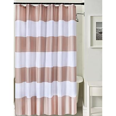 Deco Window Shower Curtain - Waterproof with 12 Hooks for Shower, Bathtub 71x71 (Dark Beige)