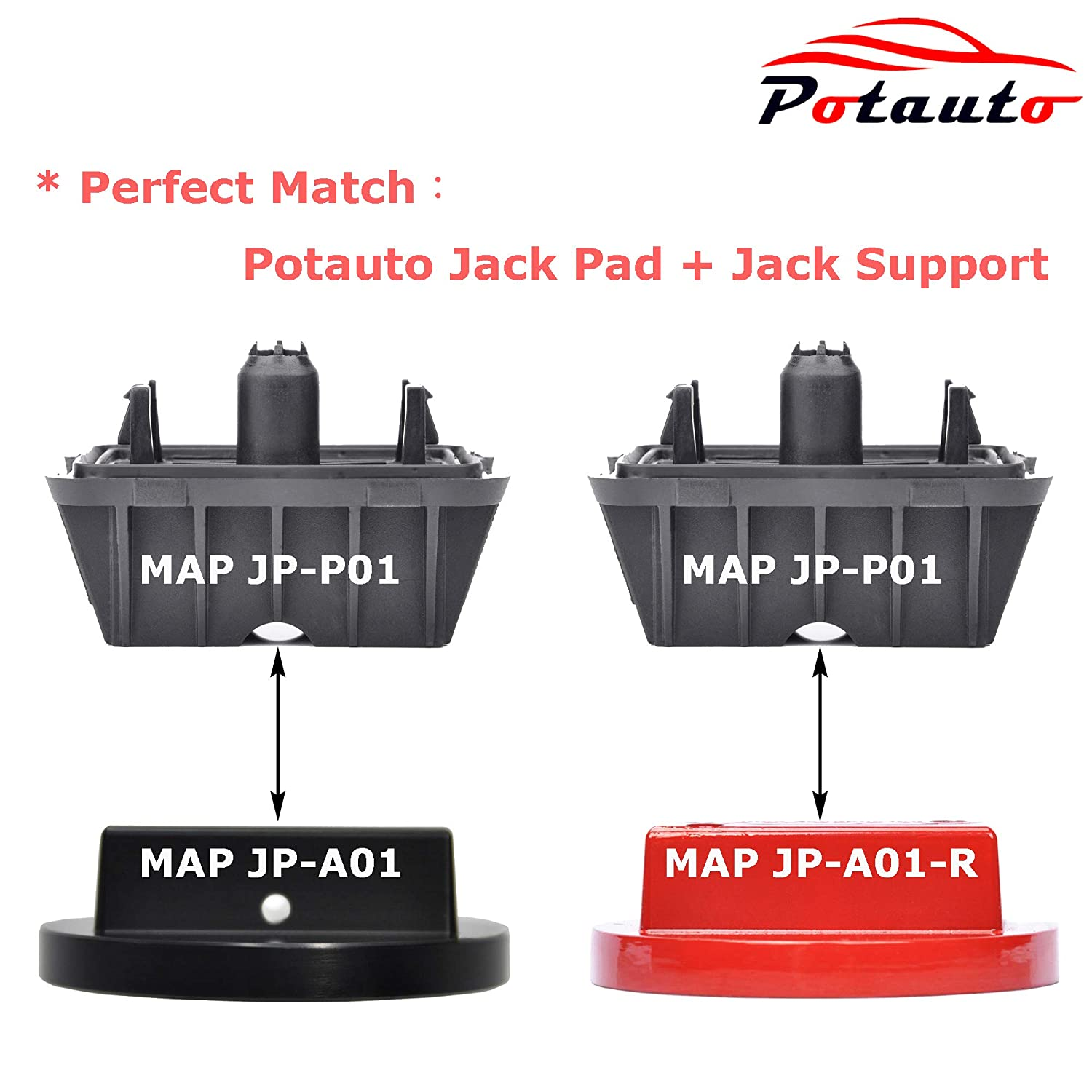 MINI Cooper Qty 4, Red Potauto Universal Aluminum Jack Pad Jacking Puck Adapter Support for BMW