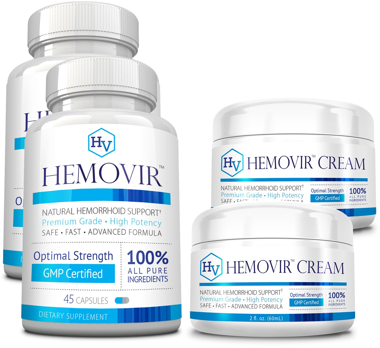 Hemovir - 2 Month Supply - 2 Bottles & 2 Creams