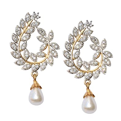 adf9e4de5 Buy Ethnic pearl jhumka earrings with white stones Online at Low Prices in  India | Amazon Jewellery Store - Amazon.in