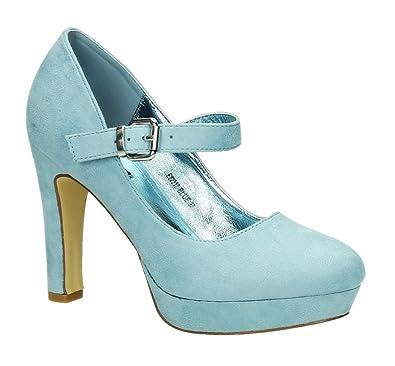 King Of Shoes Damen Riemchen Mary Jane Pumps Plateau High Heels Blockabsatz 317